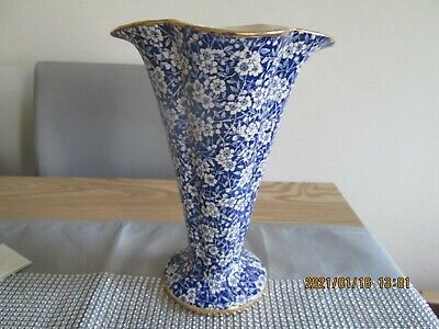 Vintage Mid Century Classic Arthur Wood Dover Tall Vase Blue Chintz Pattern • 11.99£