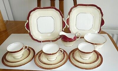 Aynsley English Bone China Red Durham Tea Set Service Cups Plates Mint 13 Piece • 19.99£