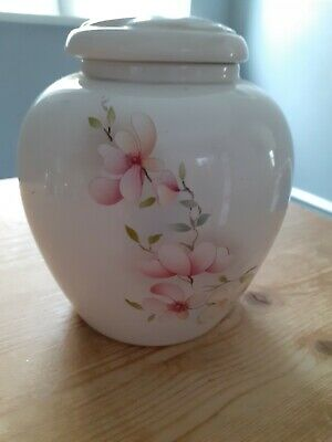 Ginger Jar - White China With Flower Decoration - 6  High • 3.20£