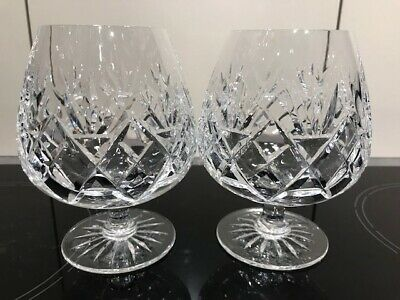 Pair (2) Cut Crystal Glass Brandy Balloons Glasses - Excellent • 14.99£