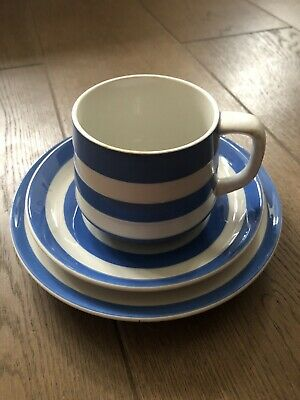 T G Green *TRIO* Large Cup Saucer Plate Blue White Cornishware By Judith Onions • 8£