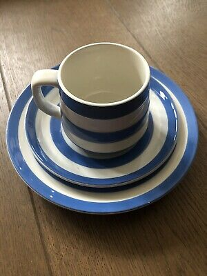 T G Green *TRIO* Small Cup Saucer Plate Blue White Cornishware By Judith Onions • 10£