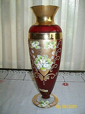Victorian Glass Ruby Red SEYEI VASE W/ Enameled Floral And Gold With Orig. Label • 30.85£