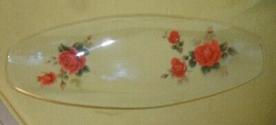 Gorgeous Chance Vintage Red Rose Gold Edged Glass Sandwich / Cake Platter • 4.99£