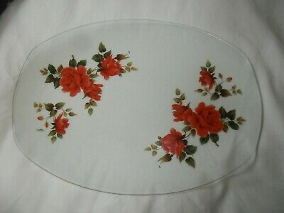 Very Large Chance Vintage Red Rose Gold Edge Glass Sandwich / Platter • 7.99£