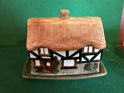 Oldcourt Ware Hand Painted Cottage Butter Dish • 4.99£