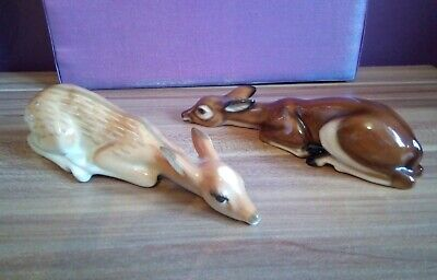 Beautiful Pair Of Deer In Laying Position - One Russian The Other German-Perfect • 7.99£