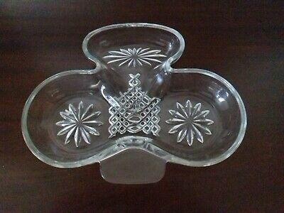 Trefoil Shaped Glass Dish, Width 8.5 Inches • 1.50£