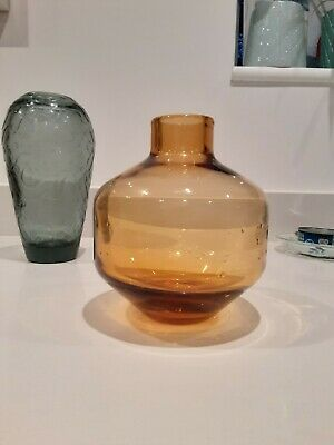 Wedgwood Glass Amber Vase  17cm Tall 14cm Diameter  • 35£