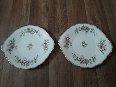 2 X Roslyn China, Moss Rose Design, Sandwich Plates, 1950's. • 9.99£