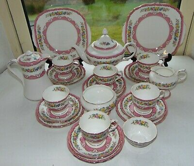 Crown Staffordshire  25 PC Tea Set Pink Tunis Teapot Cups Saucers Jug Plates  • 130£