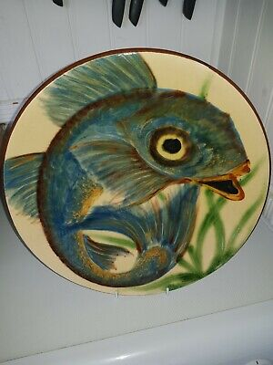 Superb Large Puig Demont Wall Hanging Fish Charger Excellent Cond  Hand Painted • 85£