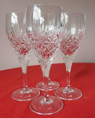 4 Edinburgh Crystal Wine Glasses 7 Inches Tall Signed • 20£