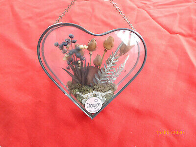 Dried Flower In A Glass Heart-very Pretty -easter-birthday Gift For Mum - Nan • 12.99£