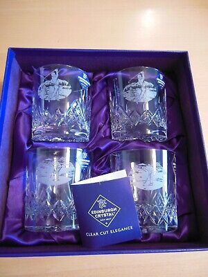 Four Edinburgh Crystal Golf Whisky Glasses-Unused. Box Included But Marked • 14.49£