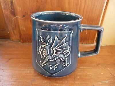 WALES Cup By Holkham Pottery, Welsh Dragon And Leek Decorate, Blue Pottery Mug • 5£