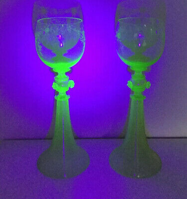 Two Antique Moser Uranium Green Tall Glass Goblets Hand Etched Flowers Bohemian • 30£