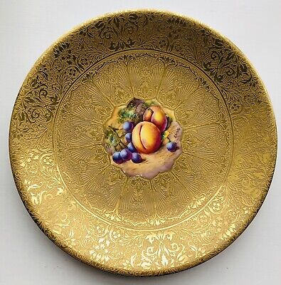 """Extremely RARE Gold 10.5"""" Worcester Fruit Plate Hand Painted By J Smith • 121£"""