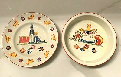 2-pc Children's China Plate & Bowl Set - TIFFANY TOYS By Tiffany & Co - 1992 • 16.09£