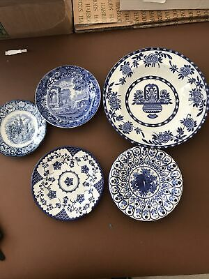 Collection Of Blue And White Plates Spode, Delft, Ironstone, Liberty Blue • 10£