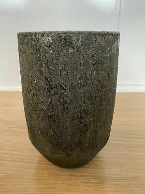 Dark Green And Gold Ceramic Plant Pot • 12£