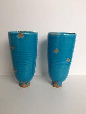 2x Handmade Natural Turquoise Blue Tall Unique Pottery Vases Pair • 24.99£
