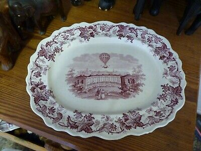 Rare C19th Pink Transfer Pearlware Platter Hot Air Ballooning Over Bath Crescent • 265£