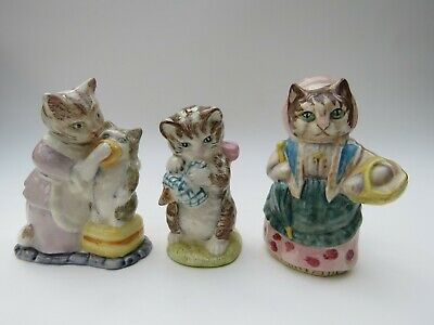 Beswick Beatrix Potter Cats Cousin Ribby, Twitchit & Moppet & Miss Moppet BP3s • 26£