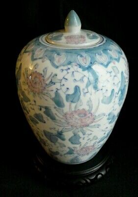 LARGE ORIENTAL LIDDED GINGER POT & STAND - S.d • 4.99£