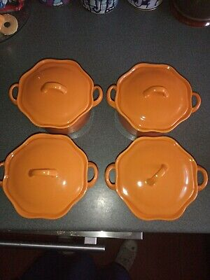 BIA China 4 Lidded Soup Bowls Orange, New And Unused • 12£