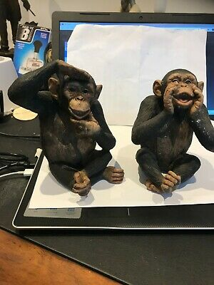 Delightful  Pair Of Model Chimps • 10£