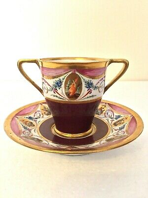 Sevres Porcelain Revolutionary Period 2 Handled Cup & Saucer Chinoiserie & Birds • 3,600£