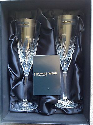 CHAMPAGNE FLUTES THOMAS WEBB FINEST CRYSTAL ROMEO X 2 - VINTAGE COLLECTIBLE • 69.99£