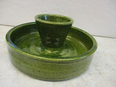 Youghal Pottery Ltd, Handmade Irish Green Pottery Egg Cup And Dish? • 7.95£