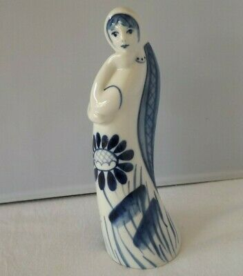Vintage USSR Porcelain Blue & White Painted Figurine Of A Young Woman  • 12.50£