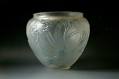 Rene Lalique   Nefliers   Glass Vase With Blue Staining , Circa 1923 • 695£