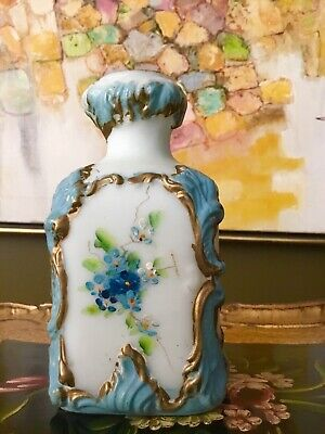 Victorian Cameo Hand Painted Pressed Blue Ornate Cameo Glass Vase • 327.46£