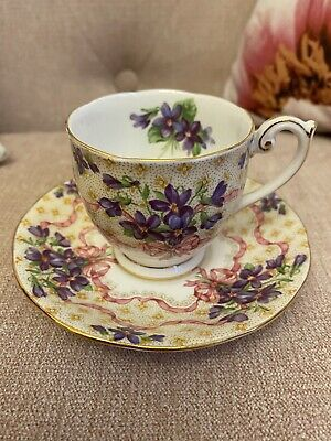 Queen Anne Sweet Violets Bows Pink Ribbons Tea Set Coffecup And Saucer Demitesse • 35£
