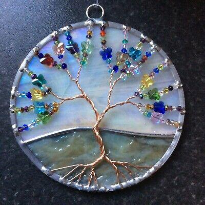 Stained Glass And Butterflies Tree Of Life Suncatcher • 20£