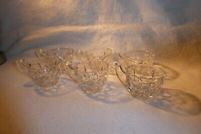 VINTAGE SET OF SIX HEAVILY HAND CUT CRYSTAL PUNCH CUPS C1920's. • 24.50£