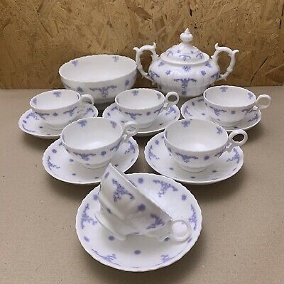 Antique Embossed China Teaset- Blue Coral Floral Pattern  Cups Saucer Sugar Bowl • 14.99£