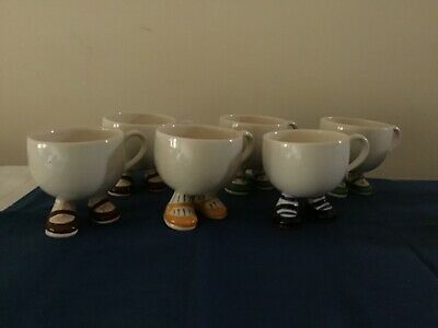 An Army Of CARLTON WARE Walking Cups (6) Plus Milk Jug And Sugar Bowl • 19£