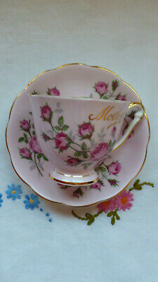 Vintage Queen Anne China  ~  Mother's Day Pink Tea Cup/saucer ~  Roses Mother • 20£