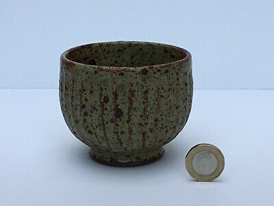 Studio Pottery Yunomi, Carved, Fluted, Speckled Glaze, Stoneware, Marked, Signed • 22£