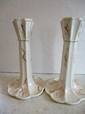 Pretty Pair Of  Belleek Irish Porcelain Candlesticks In The Thorn Design • 14.95£