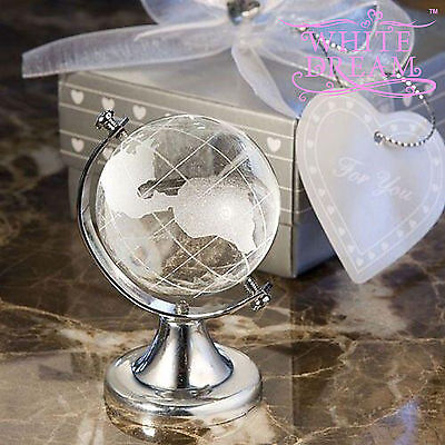 Crystal Globe - Wedding / Party Favours | Table Decoration | NEW | Spins On Axis • 13.97£