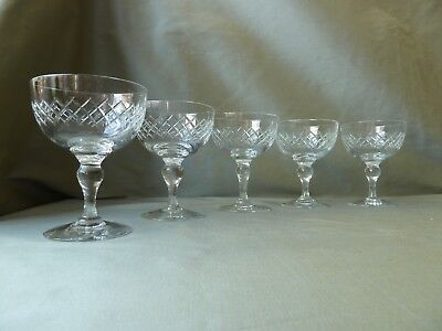 5 Antique Edwardian Cut Crystal Champagne Glasses • 39£