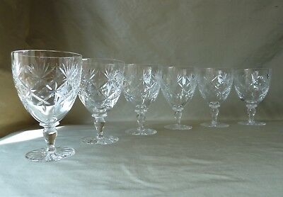 6 Webb Corbett Crystal Water Wine Glasses Chantilly Cut, One Signed H14,0cm • 45£