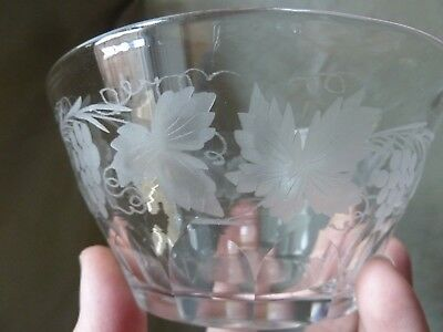11 Antique Rinser Bowls With Etched Grapevine, Not Signed Walsh Walsh? • 129£