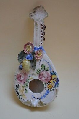 Antique Porcelain Ornamental Mandolin Wall Pocket 7.5  • 65£